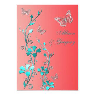 Wedding | Coral Aqua Gray | Floral | Butterflies Card