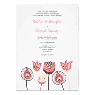 Wedding Coral Chocolate Ivory Funky Flowers 5x7 Paper Invitation Card