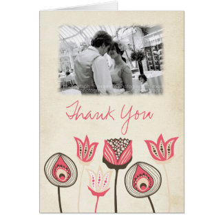 Wedding Coral Chocolate Ivory Funky Thank You Card