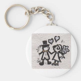 Wedding Couple 1 Basic Round Button Keychain