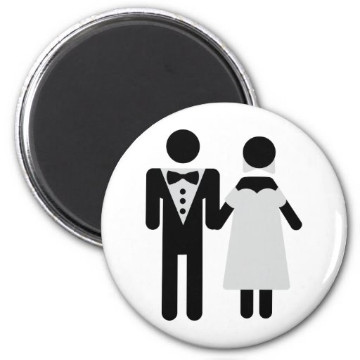 wedding couple bride and groom icon 2 inch round magnet