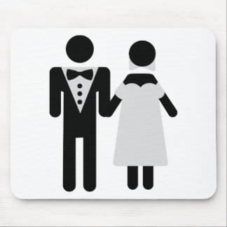 wedding couple bride and groom icon mouse pad