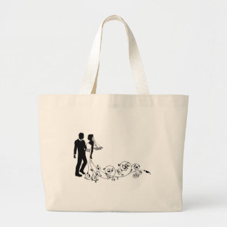 Wedding couple bride and groom silhouette bag