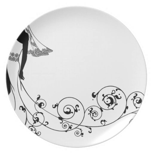 Wedding couple bride and groom silhouette dinner plates