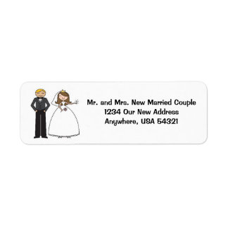 Wedding Couple Brunette Bride New Address Labels