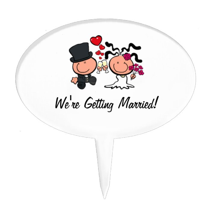 Wedding Couple Cartoon Cake Pick Zazzle Com