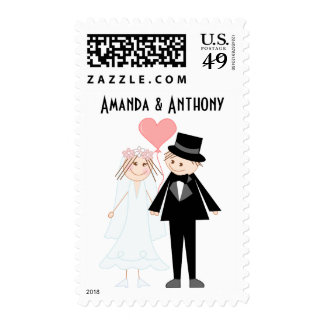Wedding couple cartoon postage