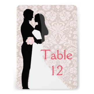 Wedding Couple Floral Damask Table card