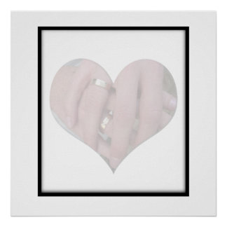 Wedding Couple Hands Together in Heart Poster