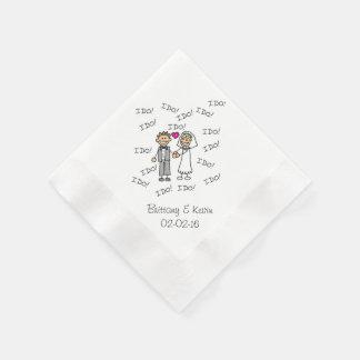 Wedding Couple I Do Personalized Paper  Napkins Paper Napkins