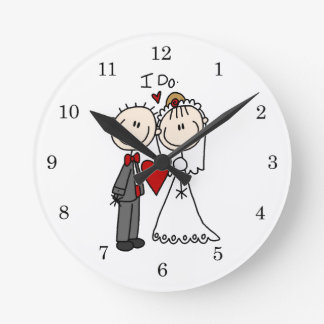Wedding Couple I Do T-shirts and Gifts Round Clock