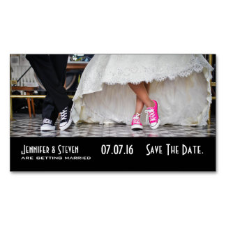 Wedding Couple in a Fifties Diner Save the Date Business Card Magnet