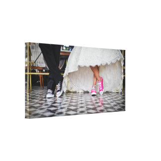 Wedding Couple in a Retro Style Fifties Diner Canvas Print