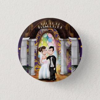 Wedding Couple in Church Button