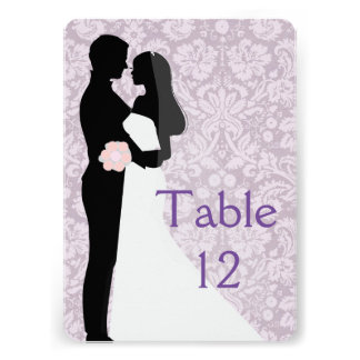 Wedding Couple Lavender Damask Table card