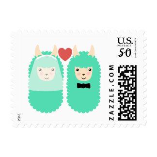 Wedding Couple Llama Emojis Postage Stamps