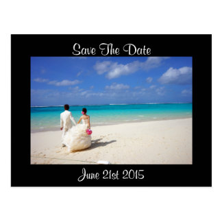 Wedding Couple on a Beach Save the Date Postcard