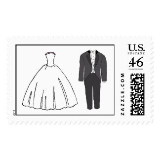 Wedding Couple Outfits! Cute! Postage Stamps