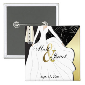 Wedding Couple Personalize Button Pin