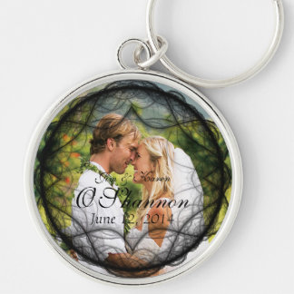 Wedding Couple Photo and Date Key Chain