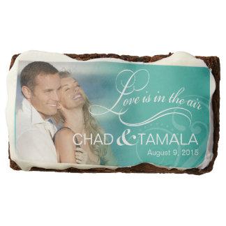 Wedding Couple Photo Bridal Shower | aqua Chocolate Brownie