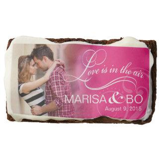 Wedding Couple Photo Bridal Shower | fuchsia Chocolate Brownie