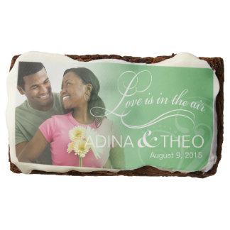 Wedding Couple Photo Bridal Shower | mint green Chocolate Brownie