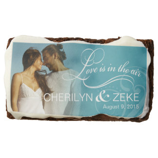 Wedding Couple Photo Bridal Shower | ocean blue Chocolate Brownie