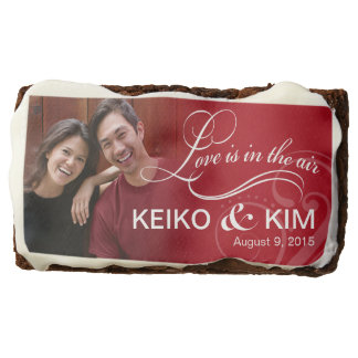Wedding Couple Photo Bridal Shower | red Chocolate Brownie