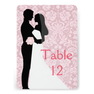 Wedding Couple Pink Damask Table card