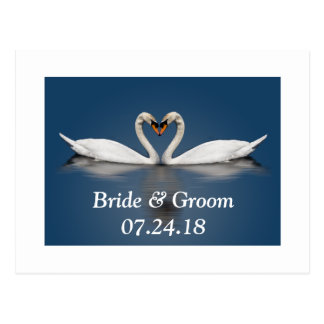Wedding Couple Pretty Swans Save The Dates Card