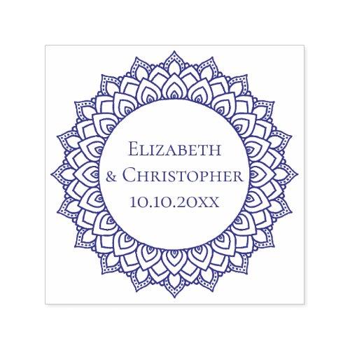 Wedding Couple Round Mandala Save The Date Self_inking Stamp