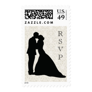 Wedding Couple Sihouette RSVP Custom Stamp