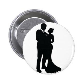 Wedding Couple Silhouette Button