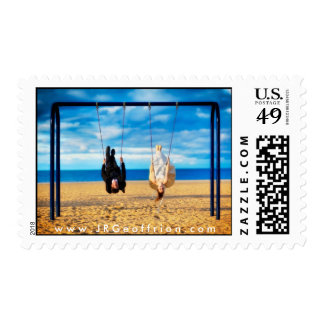 Wedding Couple Swinging at the Beach Postage Stamp