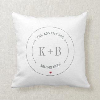Wedding Couples Keepsake Monogram Throw Pillow