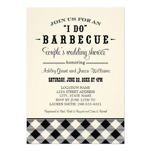 "Wedding Couple's Shower Invitation   ""I Do"" BBQ"