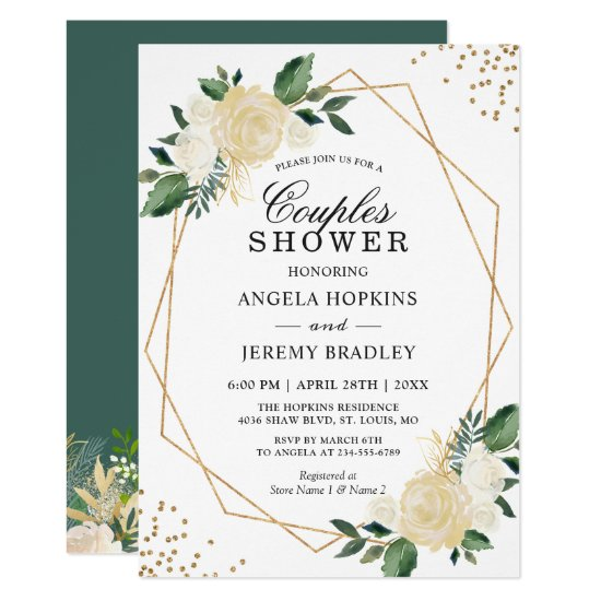Wedding Couples Shower Modern Gold Greenery Floral Invitation
