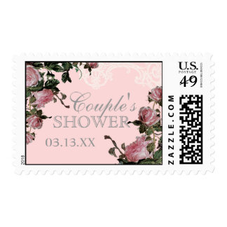 Wedding Couples Shower Stamp, Trellis Rose Vintage Postage