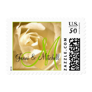 Wedding Cream Rose Lime Green Monogram Names Stamp