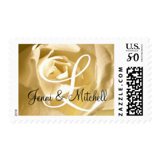 Wedding Cream Rose Monogram Names Stamp