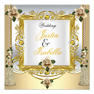 Wedding Cream Roses Tassels Gold Floral Card