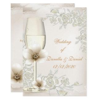 Wedding Cream Sepia Champagne Glass Flowers Card