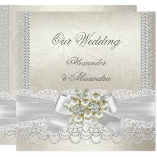 Wedding Cream White Pearl Lace Damask Diamond Card