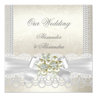 Wedding Cream White Pearl Lace Damask Diamond Card