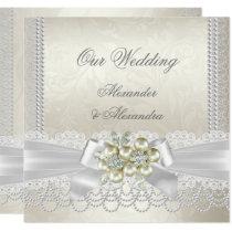 Wedding Cream White Pearl Lace Damask Diamond Invitation