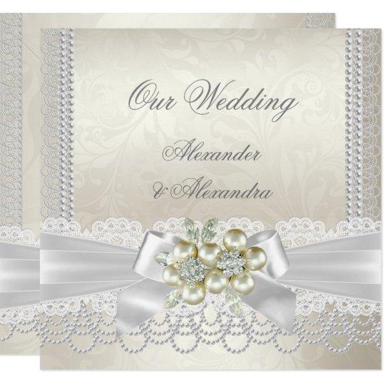 Pearl And Lace Wedding Invitations: Wedding Cream White Pearl Lace Damask Diamond Invitation