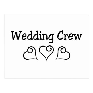 Wedding Crew Black Hearts Postcard