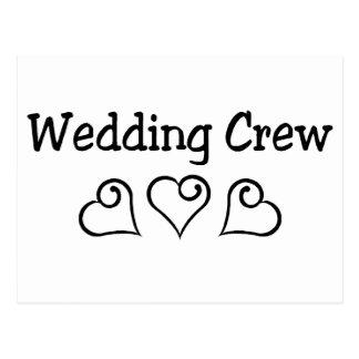 Wedding Crew Black Hearts Postcards