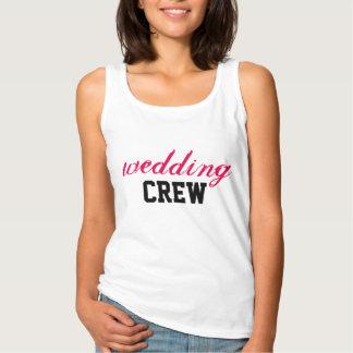 Wedding Crew - Black Pink on White Tank Top